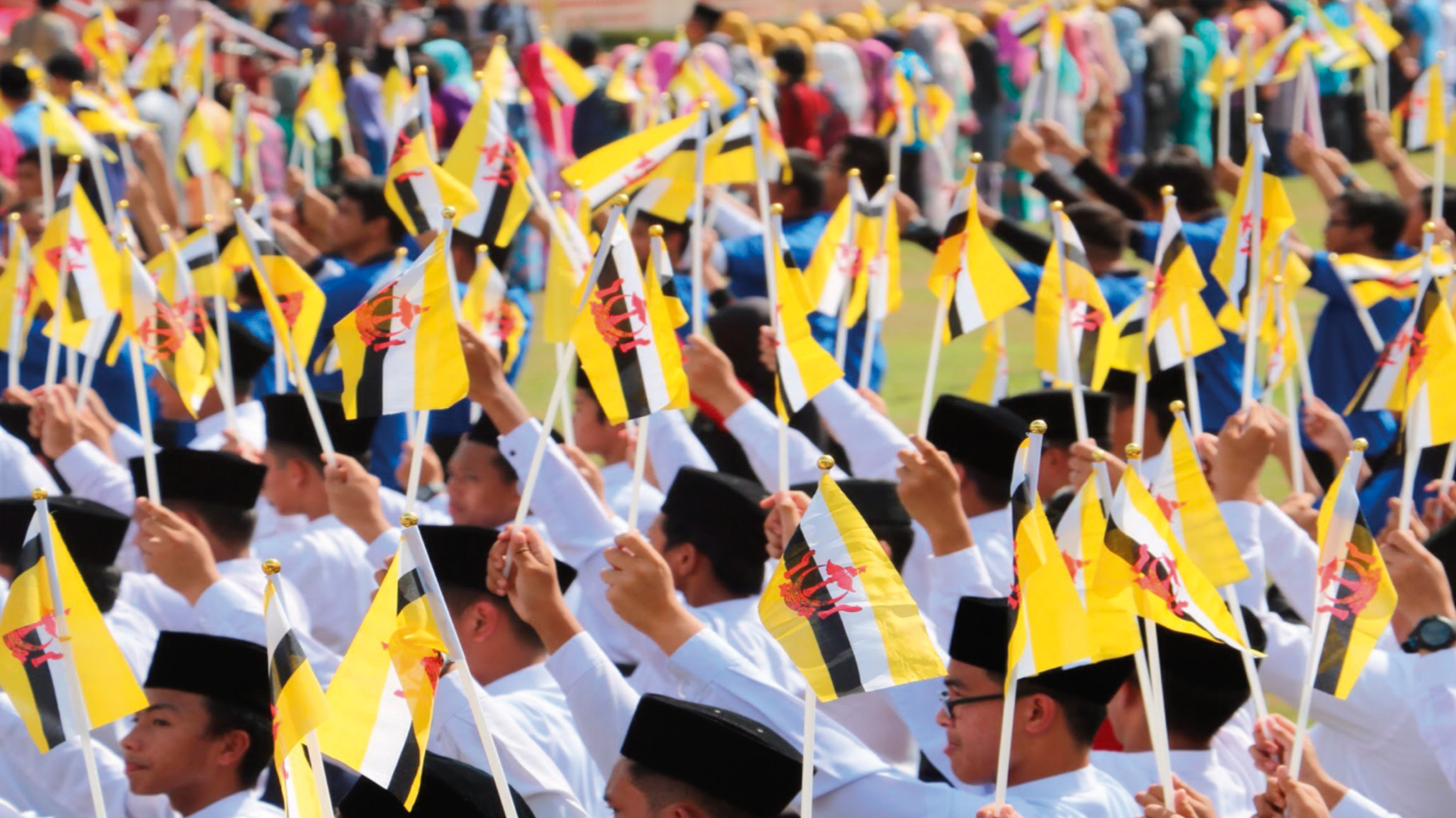 Brunei students holding flags