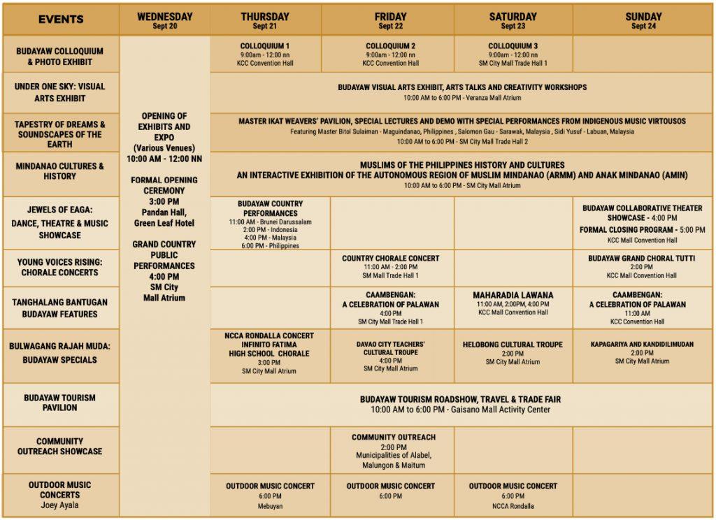 2017 Calendar of Activities